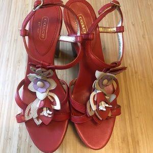 COACH Jeanna Wood Platform Sandal Size 8